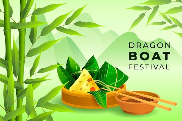 Fundo do barco do dragão design realista Vetor grátis