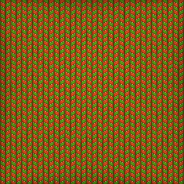 Fundo do bordado, teste padrão feito malha decorativo verde vermelho. Vetor Premium
