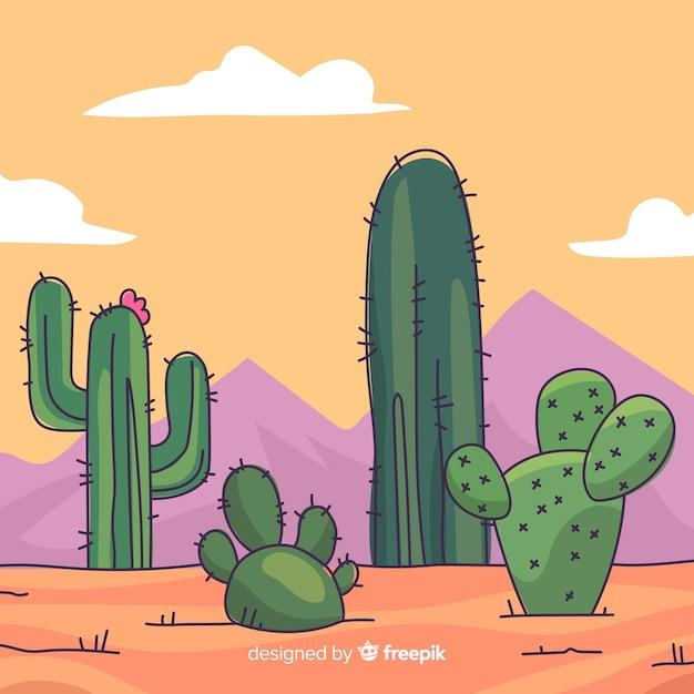Fundo do cacto do deserto Vetor grátis