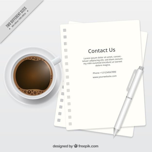 Fundo do café com a letra eo texto