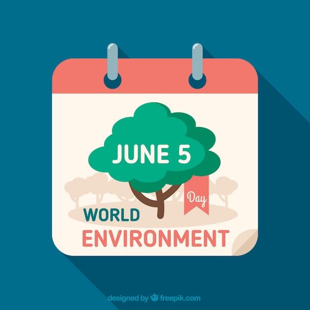 Fundo do calendário com dia ambiental mundial Vetor Premium
