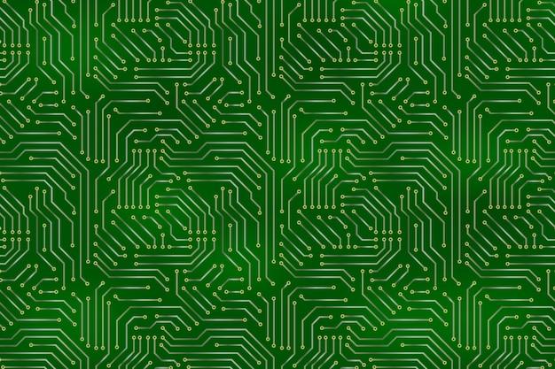Fundo do cartão-matriz do computador com elementos eletrônicos de placa de circuito. Vetor Premium