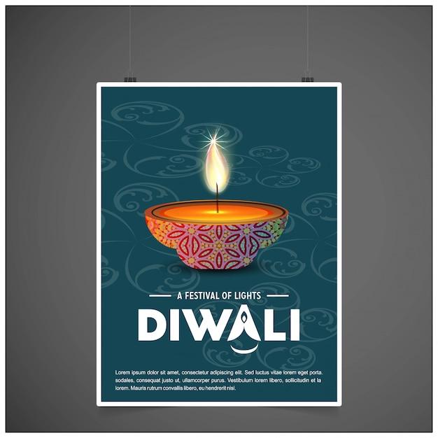 Fundo do cartaz de diwali Vetor grátis