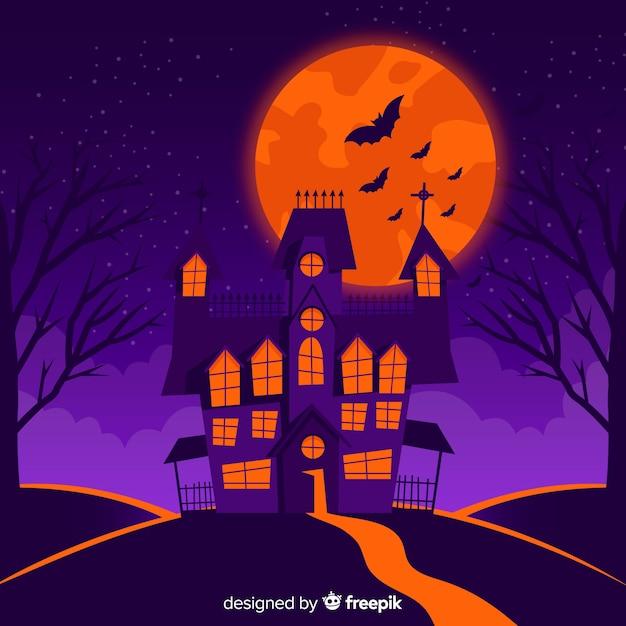 Fundo do castelo de halloween Vetor grátis