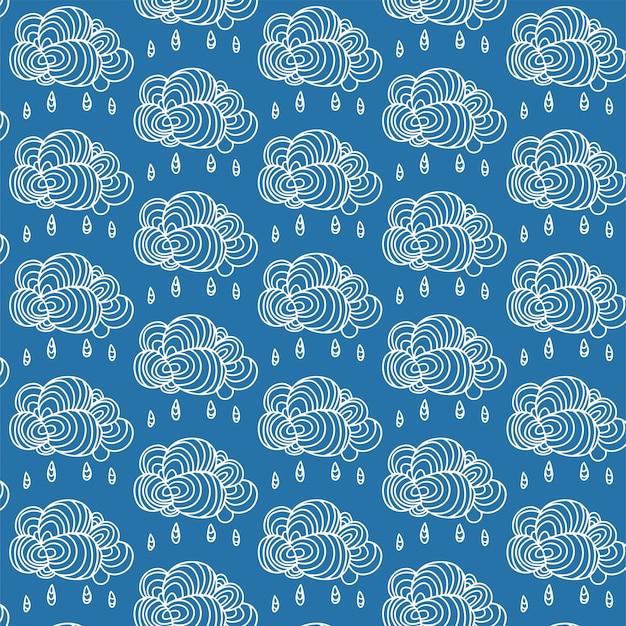 Fundo do céu com mão desenhada nuvem Vetor Premium