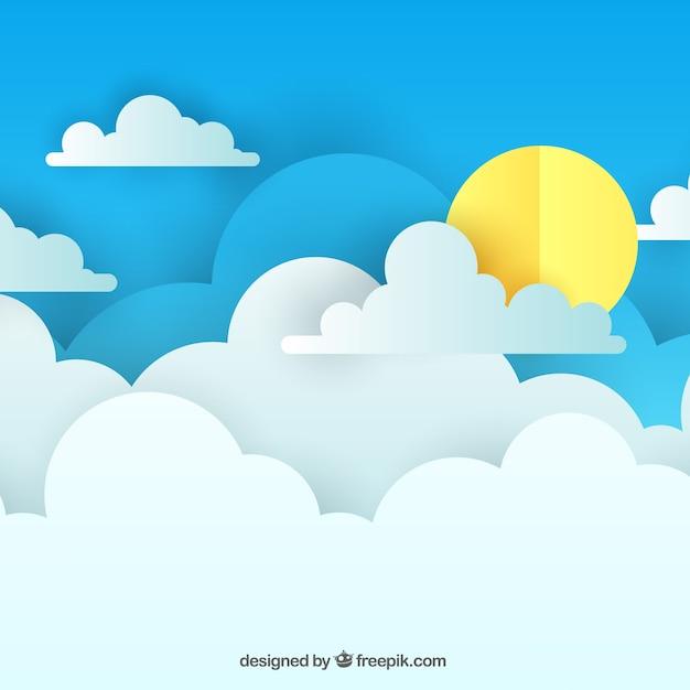 Fundo do céu de dia com nuvens na textura de papel Vetor grátis
