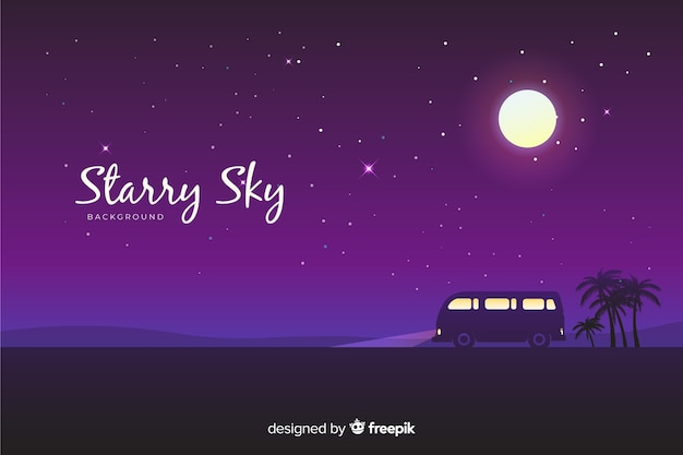 Fundo do céu estrelado de noite Vetor grátis