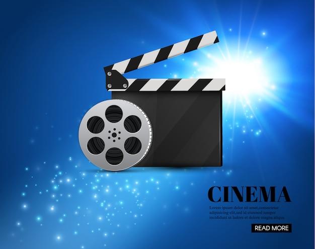 Fundo do cinema com fundo de movie.blue com estrela clara. clapper board. Vetor Premium