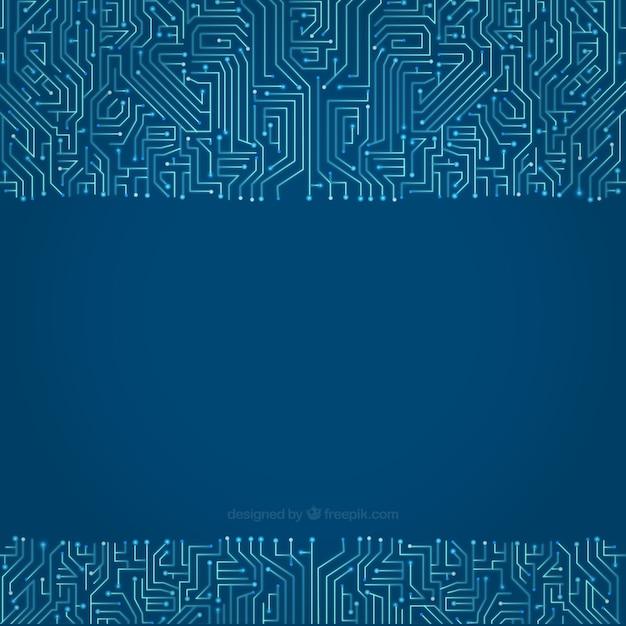 Fundo do circuito em tons de azul Vetor grátis