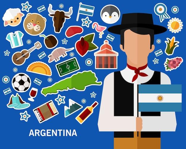 Fundo do conceito de argentina Vetor Premium