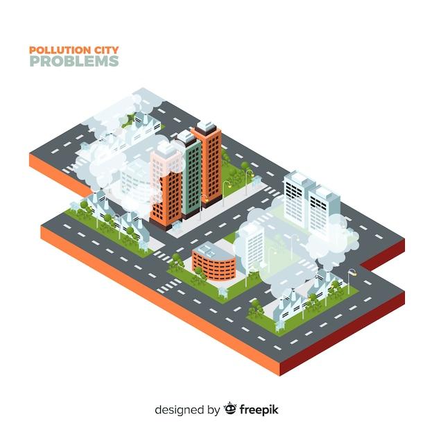 Fundo do conceito de cidade contaminada isométrica Vetor grátis
