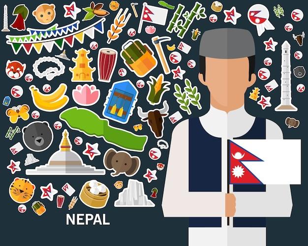 Fundo do conceito de nepal. ícones planas Vetor Premium