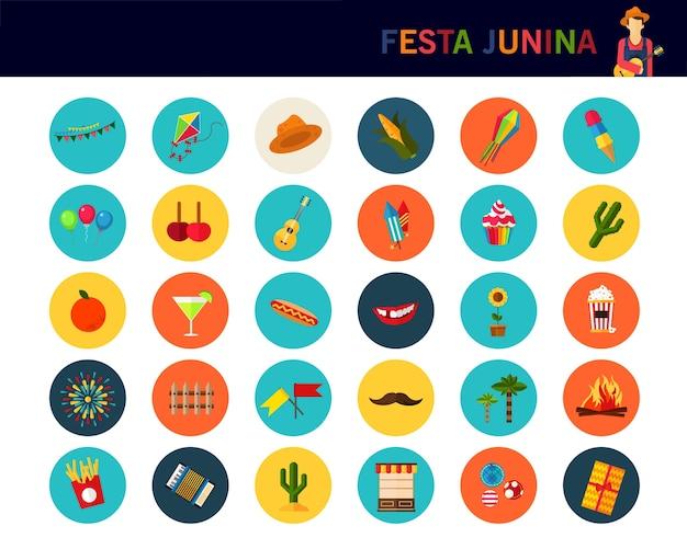 Fundo do conceito do junina de festa. ícones planas Vetor Premium