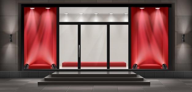 Fundo do conceito, fachada boutique loja com tabuleta. Vetor grátis