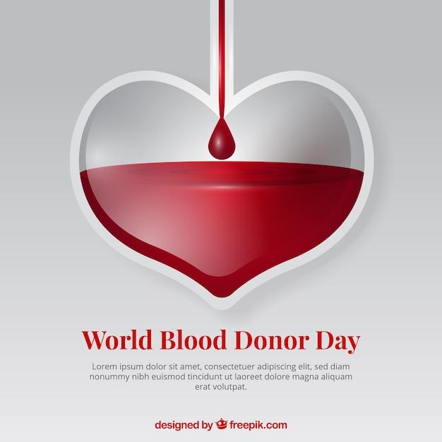 Fundo do coração para o dia do doador Vetor Premium