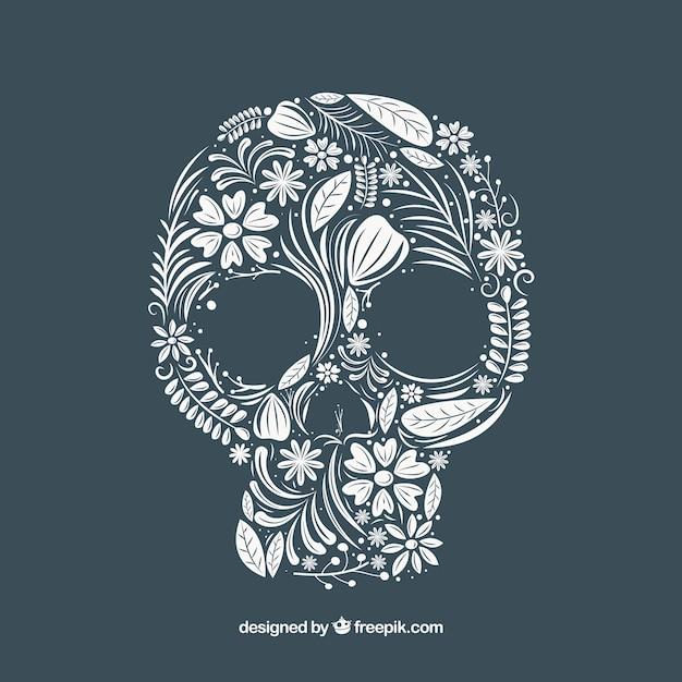Fundo do crânio feito de mão elementos florais desenhados Vetor grátis