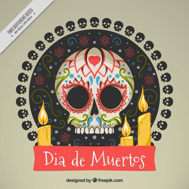 Fundo do crânio mexicano com velas Vetor grátis