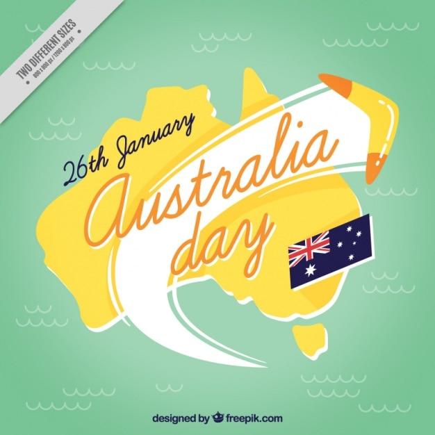 Fundo do dia austrália com boomerang Vetor grátis