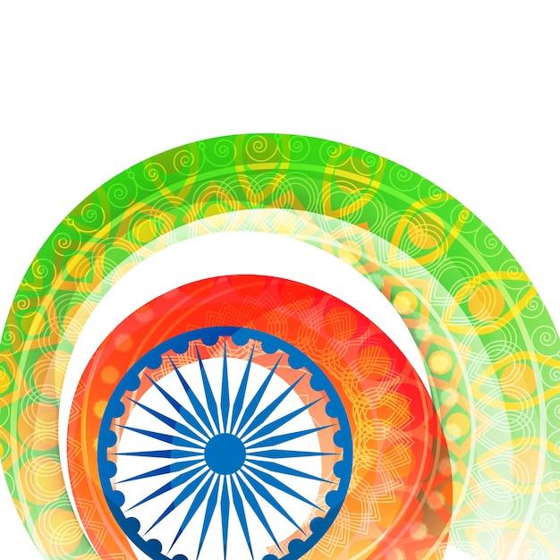 Fundo do dia da independência indiano com design floral decorado bandeira cores listras e ashoka roda ou chakra. Vetor grátis