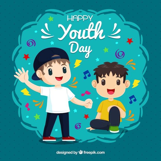 Fundo do dia da juventude com meninos Vetor grátis