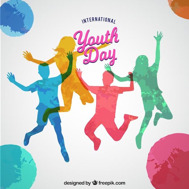 Fundo do dia da juventude com silhuetas de cores Vetor grátis