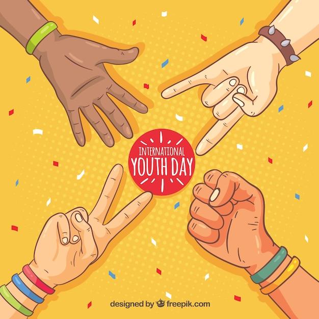 Fundo do dia da juventude Vetor grátis