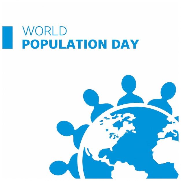 Fundo do dia da população azul Vetor grátis