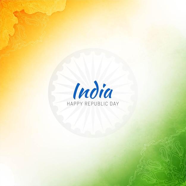 Fundo do dia da república em aquarela com bandeira indiana Vetor grátis