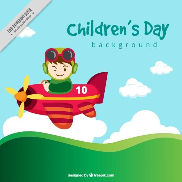 Fundo do dia das crianças com pequeno avião Vetor grátis