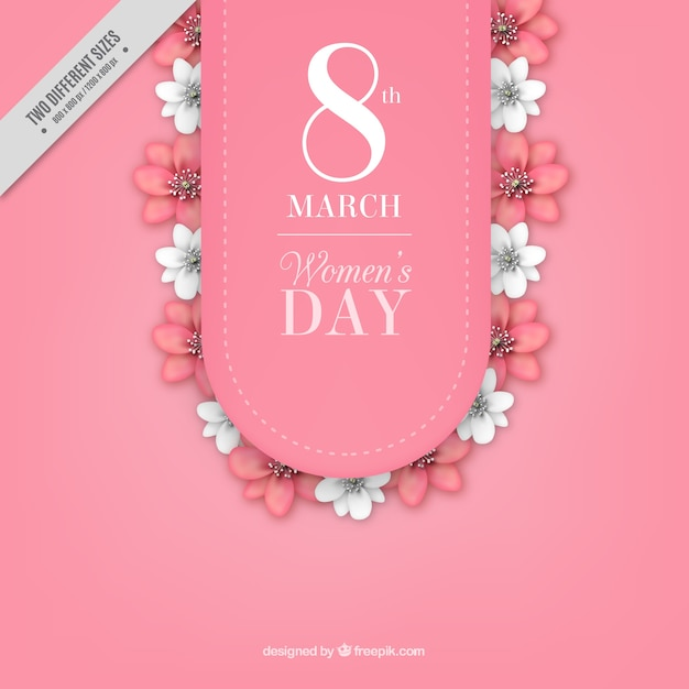 Fundo do dia das mulheres com flores brancas e rosa Vetor grátis