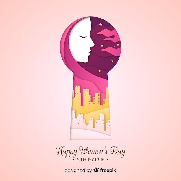 Fundo do dia das mulheres do buraco da fechadura Vetor grátis