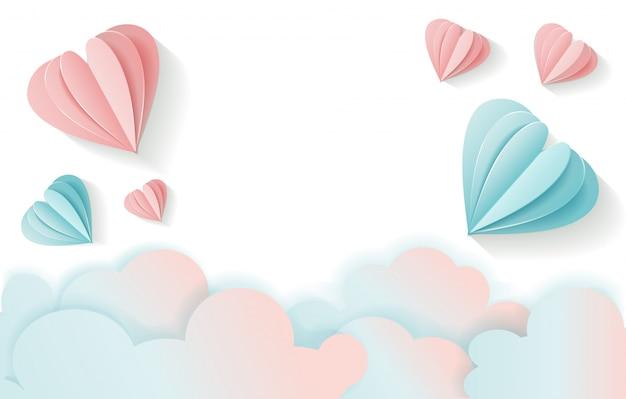 Fundo do dia de valentim com o volume que voa o coração e nuvens de papel cor-de-rosa e azuis. Vetor Premium
