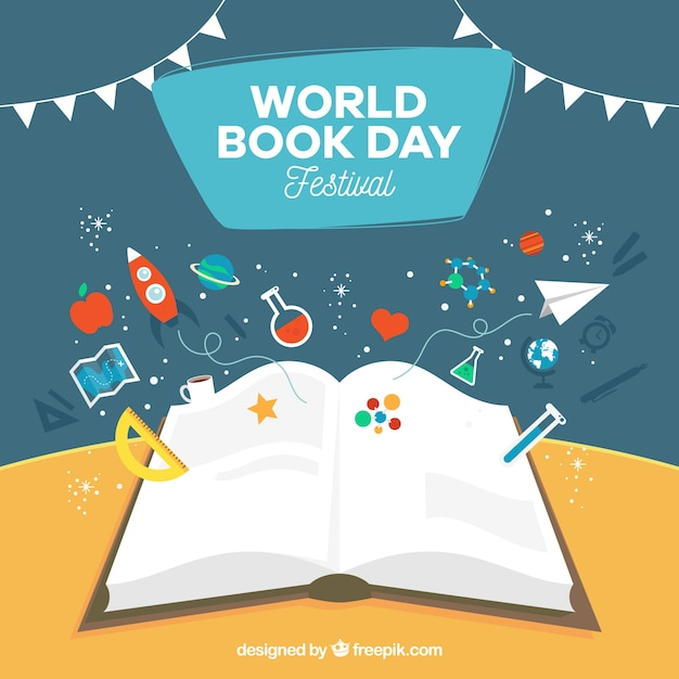 Fundo do dia do livro mundial Vetor grátis