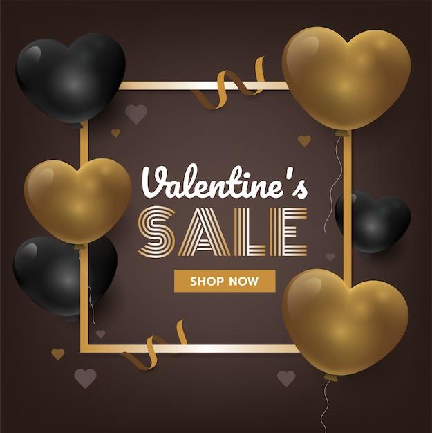 Fundo do dia do valentim do ouro com corações 3d. ilustração em vetor promoção vendas Vetor Premium