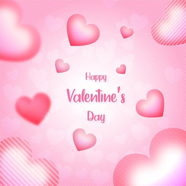 Fundo do dia dos namorados ou banner com corações fundo rosa Vetor Premium