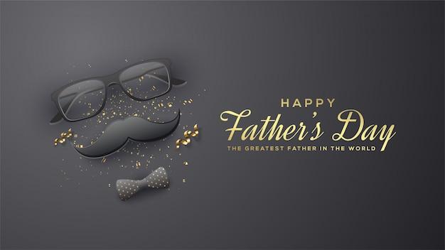 Fundo do dia dos pais com ilustrações dos vidros, do bigode e de um laço 3d em um fundo preto. Vetor Premium