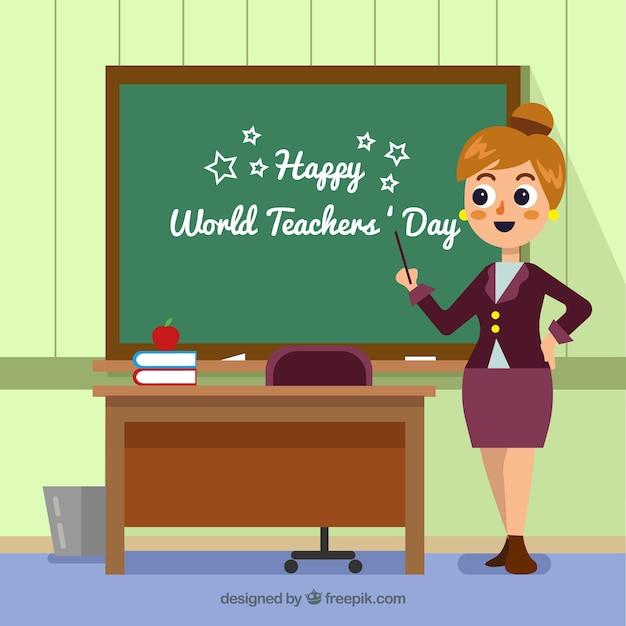 Fundo do dia dos professores do mundo feliz Vetor grátis
