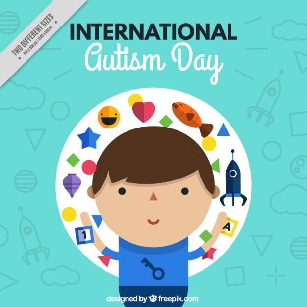Fundo do dia internacional do autismo com uma criança Vetor grátis