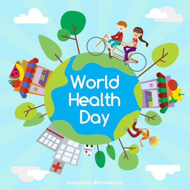 Fundo do dia mundial da saúde com as pessoas exercício Vetor grátis