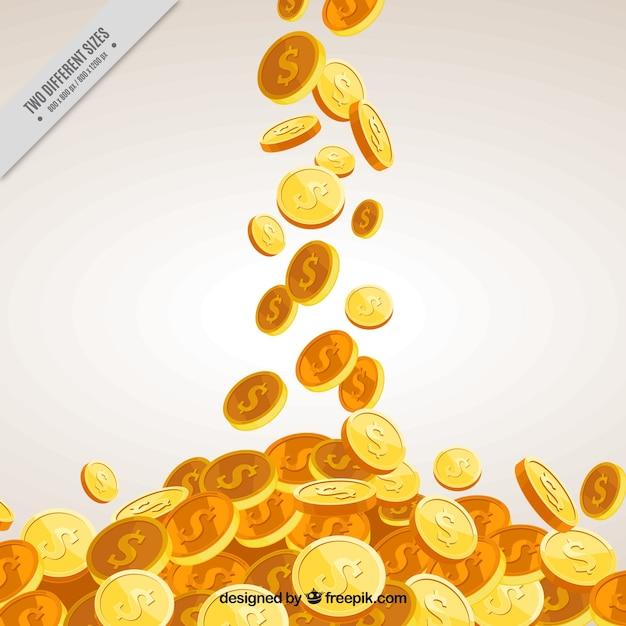 Fundo do dinheiro com moedas douradas decorativas Vetor Premium