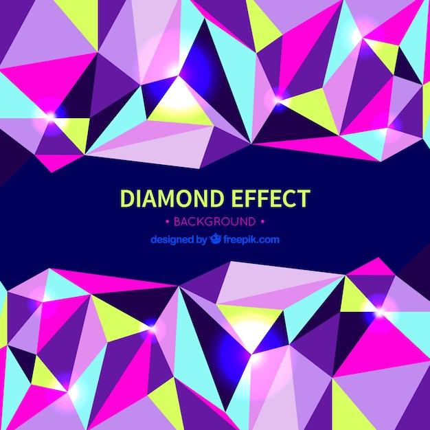 Fundo do efeito diamante com formas coloridas Vetor grátis