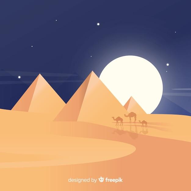 Fundo do egito com pirâmides e camelos Vetor grátis