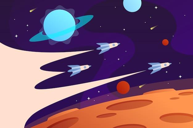 Fundo do espaço horizontal com naves espaciais voadoras e planetas rocket race web space explorando Vetor Premium