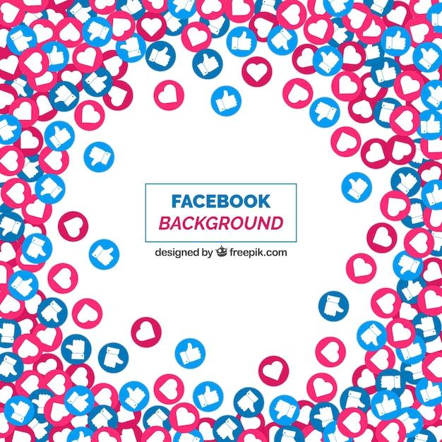 Fundo do facebook com ícones como e coração Vetor grátis