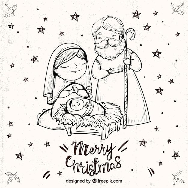 Fundo do feliz natal com esboço da cena da natividade Vetor grátis