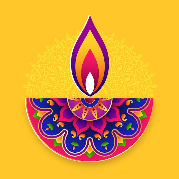 Fundo do festival de diwali. festival de luzes do conceito de arte rangoli indiano. Vetor Premium