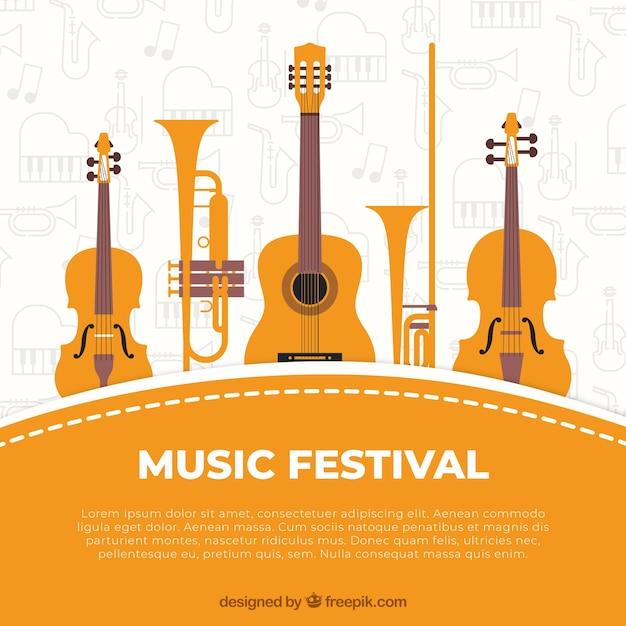 Fundo do festival de música com instrumentos em estilo desenhado à mão Vetor grátis