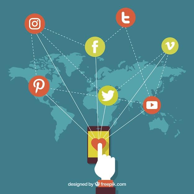 fundo do mapa com símbolos de redes sociais Vetor grátis