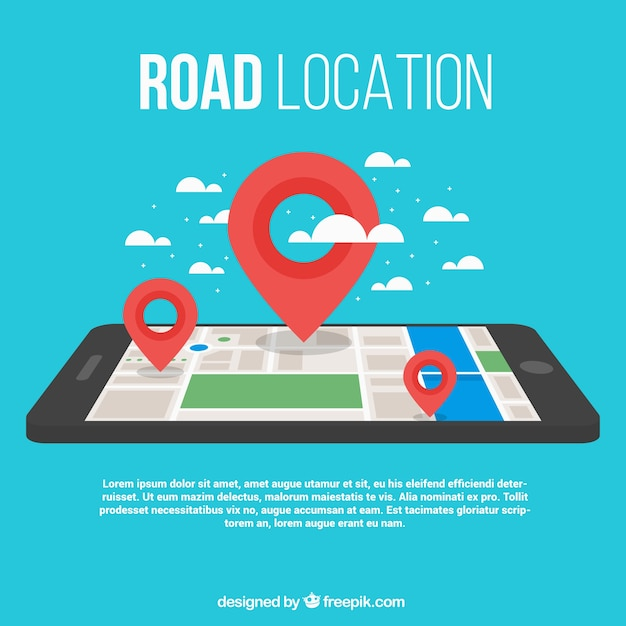 Fundo do mapa de estrada com um smartphone e três marcos Vetor grátis