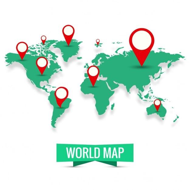 Fundo do mapa de mundo Vetor grátis
